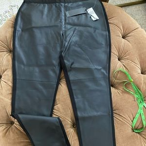 Joan Vass front faux leather pants size L